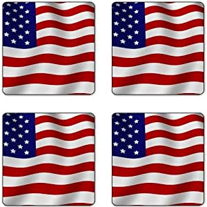 USA Flag Rubber Square Coaster set (4 pack) Great Gift Idea