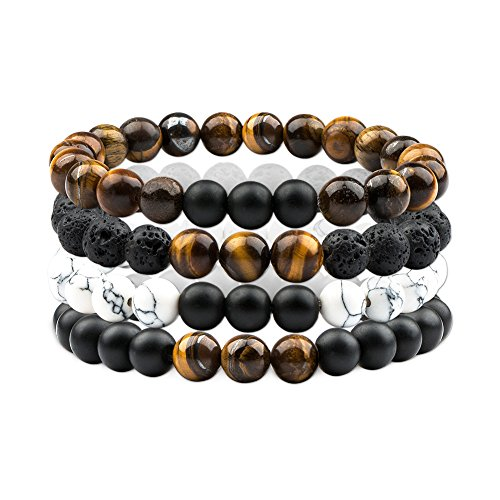 (Citled 4Pcs Bead Bracelet Unisex Natural Stone Tiger Eyes Chain Bracelet 8mm Elastic)