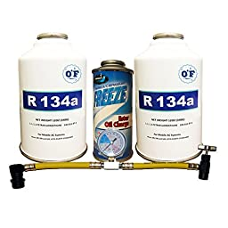0F Quick Charge Kit 2 Cans R-134a Refrigerant, Oil Charge & Can Tap with Gauge