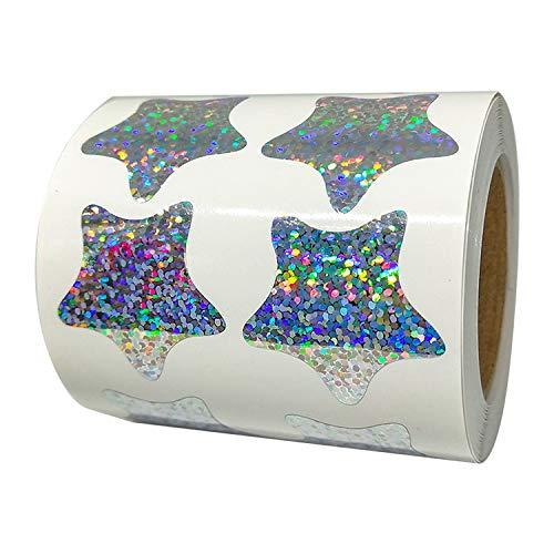 1.2 Inch Glitter Foil Metallic Star Shape Stickers Shiney Sparkly - 500 Smallpox Class Stars Sticker Roll Labels - Self-adhesive Scrapbooking Party Favors Teacher Supplies (Glitter star stickers)