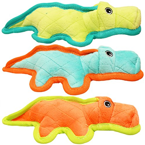 "Price comparison product image Boss Pet Chomper 11"" Junior Gladiator Gator with Ballistic Nylon Edging & Hidden Dog Toy, Medium, Multicolor"