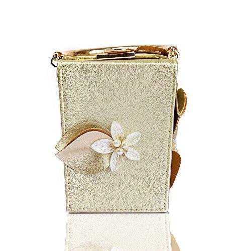 bucket bag wedding WUHX dinner PU Gold diagonal evening bag wallet female evening shoulder handbag bag flower bag bag B4R4Pq