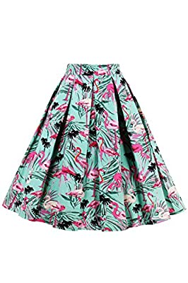 Women's Vintage A-line Printed Pleated Flared Floral Summer Midi Skirts
