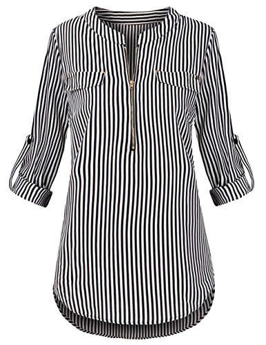 Shot Black And White (Sunerlory Roll-up Sleeve Shirts, Women's Zip up Striped V Neck Long Sleeve Shirts Chiffon Blouses Black and White XL)