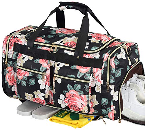 Weekender Overnight Duffel Bag Shoe Pocket for Women Men Weekend Travel Tote Carry On Bag (Floral Black) ()