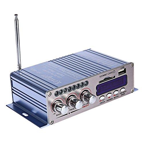 SZYT Bluetooth Amplificador pequeño 502S Lector Amplificador USB con FM FM Radio 12V Amplificador Azul