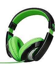 Rockpapa Comfort Stereo On ear/Over ear Headphones Earphones, Adjustable Headband for Kids Childs/Adults, iPad Macbook Surface MP3/4 CD/DVD Laptop Tablet Phone Black Green