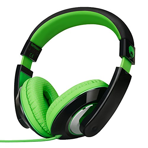 Rockpapa On Ear Stereo Headphones Earphones for Adults Kids Childs Teens, Adjustable, Heavy Deep Bass for iPhone iPod iPad MacBook Surface MP3 DVD Smartphones Laptop (Black/Green)