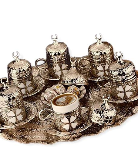 (27 Pieces Turkish Greek Coffee Espresso Set for Serving - Porcelain Cups with Tray and Saucers - Vintage Tulip Design Ottoman Arabic Gift Set, Silver)