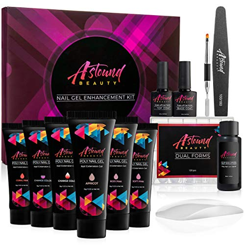 Polygel Nail Kit by AstoundBeauty with LED Lamp, 2 Color Change Gel, Slip Solution and Dual Forms - Poly Builder Gel Nail Starter Kit - Professional Nail Extension Gel All-in-One Kit