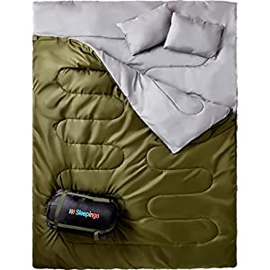 Double Sleeping Bag For Backpacking Camping Or Hiking Queen Size XL Cold Weather 2 Person Waterproof Sleeping Bag For Adults Or Teens Truck Tent Or Sleeping Pad Lightweight Sleepingo