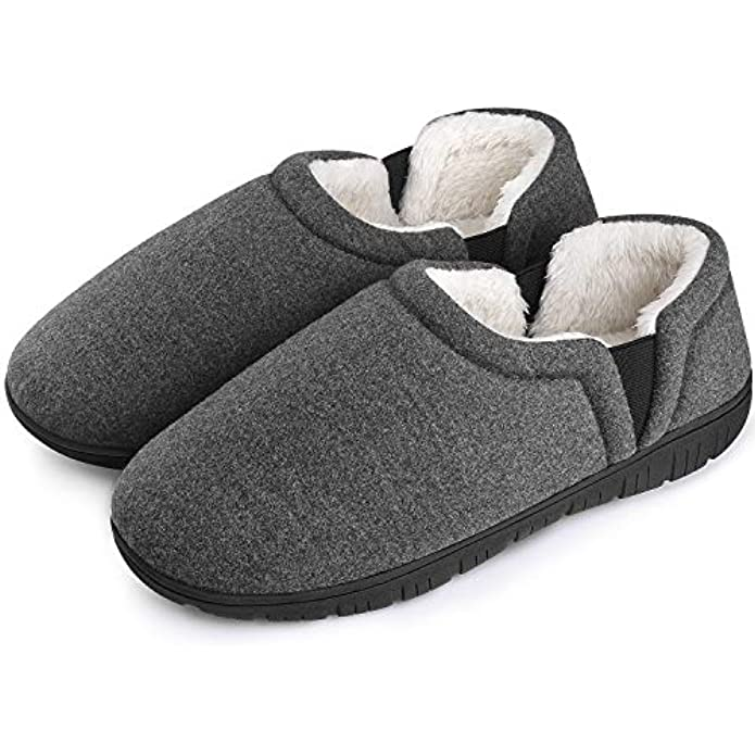Homitem Mens Slippers Cozy Memory Foam Slippers with Medial Dual Elastic Bands, Slip on Clog House Shoes with Anti-Skid Indoor Outdoor Rubber Sole