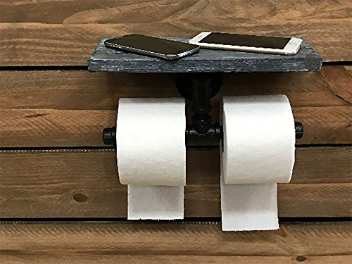 Piping Hot Art Works Toilet Paper Holder-Multi Roll Design-PERSONALIZED Floating Distressed Weathered Shelf. NEVER RUN OUT OF TP AGAIN ! (Wall Mounting Hardware Included!) (Weathered Blue/Gray) by Piping Hot Art Works (Image #1)