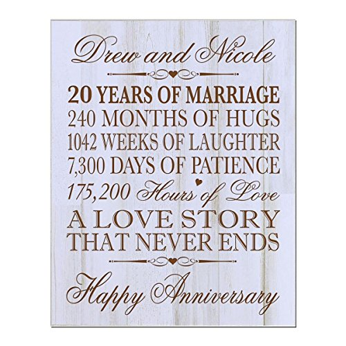 Personalized 20th Wedding Anniversary Wall Plaque Gifts for Couple, Custom 20th Anniversary Gifts for Her, 12 Inches Wide X 15 Inches High Wall Plaque By LifeSong Milestones (Distressed White) by LifeSong Milestones