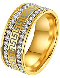 Unisex Stainless Steel Micro Pave 2 Row CZ Eternity Rings Vintage Great Wall Pattern 9mm Band