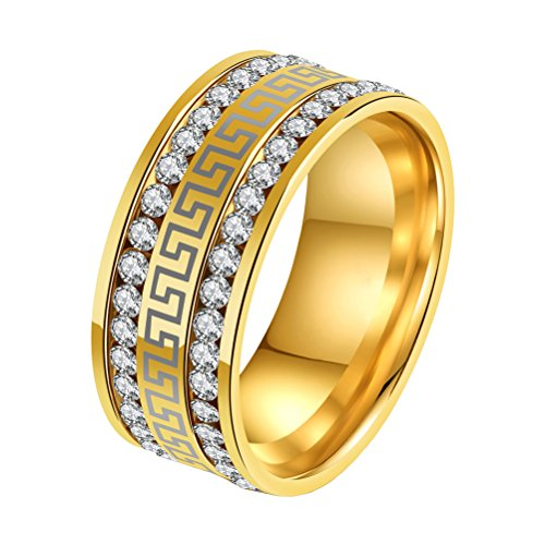 PAMTIER Men's Stainless Steel Micro Pave 2 Row CZ Eternity Rings Vintage Great Wall Pattern Gold Size 9