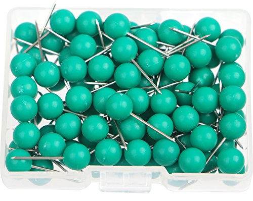 AnMiao Star 100pcs Map Tacks Push Pins 1/4 Inch Diameter Plastic Round Head,Used for Marking Variety DIY Craft Office and Home on Map,Bulletin Board or Cork Boards.(Dark Green?