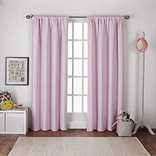 Exclusive Home Polka Dot Jacquard Blackout Window Curtain Panel Pair with Rod Pocket, Bubble Gum Pink, 54x84, 2 - Polka Dot Rod