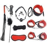 LVENY Böñdägë Set 10 Pcs SM Kit,Classic Leather Crop Bundle Tight Binding,Leather Handcuffs Set Cosplay Toys for…