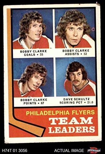 1974 Topps # 154 Flyers Leaders Bobby Clarke/Dave Schultz Philadelphia Flyers (Hockey Card) Dean's Cards 3 - VG Flyers