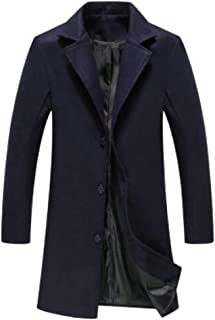 BYWX Men Solid Office Pure Color Single-Breasted Trench Coat