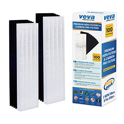 VEVA Premium 2 HEPA Filter with 8 Activated Carbon Pre Filters Compatible with Fellowes AeraMax Air Purifier 90, 100, 90/100, DX5 & DB5 9287001 - 100 Air