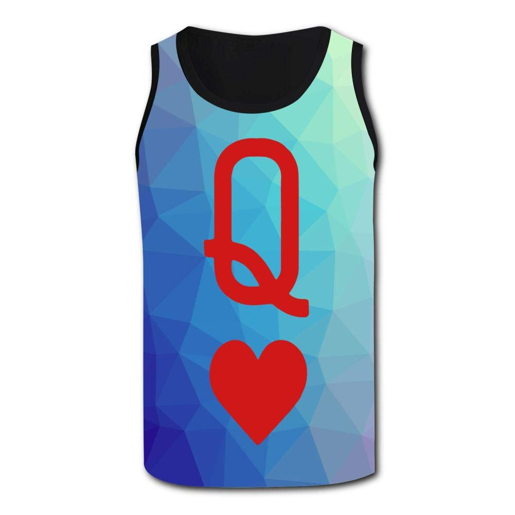 Mens Outdoor Sport Queen of Hearts Playing Card Tank Top Vest T-Shirt Fast Drying Tee