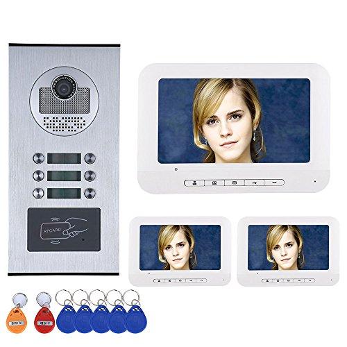 GAMWATER 3 Apartment/Family Video Door Phone Intercom System RFID IR-CUT HD 1000TVL Camera Doorbell Camera with 6 button 3 Monitor Waterproof Handfree intercom