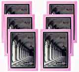 """Studio 500 8 by 10-inch, Colorful Sleek Frames in Pink with Silver Accent (EPF1313), 6-Pack; Molding Size: 1/2""""w x 5/8""""l x 3/16""""d"""