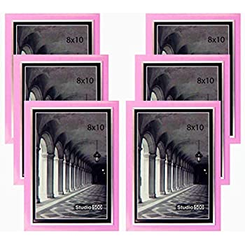 Studio 500 8 by 10-inch, Colorful Sleek Frames in Pink with Silver Accent (EPF1313), 6-Pack; Molding Size: 1/2
