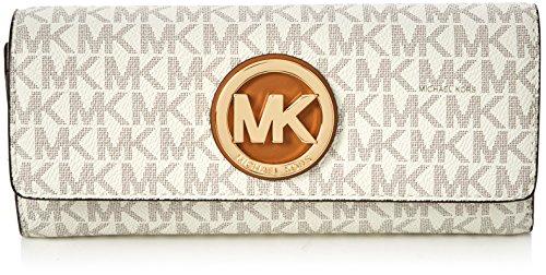 (MICHAEL KORS PVC Leather Fulton Flap Continental Wallet, 32S7GFTE3B VANILLA)