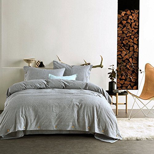 Kiss&tell Linen Cotton King Duvet Cover Set Soft Bedding Set Solid Color Wrinkle Count Egyptian Hotel Quality Warm Greyish-Green