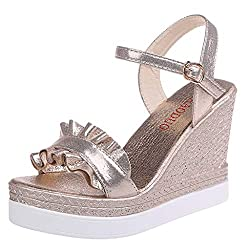 Realdo Women S Sequin Wedge Sandals Women S Summer Ruffle Buckle Bling Strap High Heel Platform Open Toe Shoes