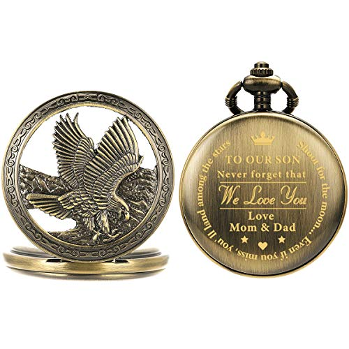 """SIBOSUN Engraved """"to My Son Love Mom & Dad"""" Pocket Watch Personalized - Perfect Gifts for Son Eagle Scout"""