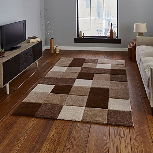 Think Rugs Brooklyn 646 Hand Carved Rug, Beige/Brown, 120 x 170 Cm