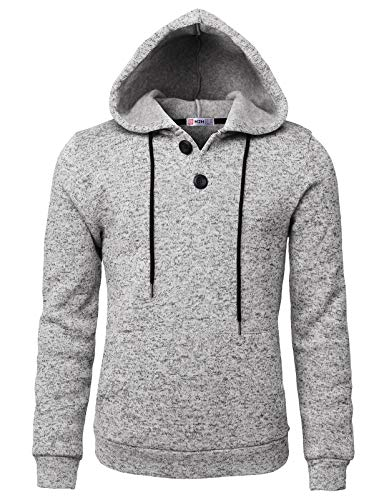 H2H Men Casual Hoodies Long Sleeve Sweatshirts Thermal Pullovers with Pocket White US L/Asia XL (CMOHOL057)