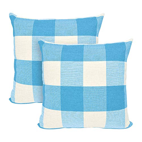 USTYLES 2PCS Pillow Covers 20 X 20 Decorative Throw Pillows Covers Cotton Line Square Cushion Cases for Sofa Chair Car Bench Bed Office Bar Indoor Outdoor Home Decorations Party Déc (Sky blue + white) ()