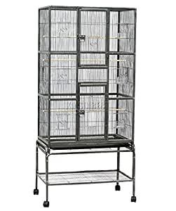 FoxHunter Soporte para jaula de pájaros de metal grande para loros ...