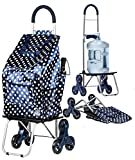 dbest products Stair Climber Bigger Trolley Dolly Shopping Cart, Blue Polka Dot
