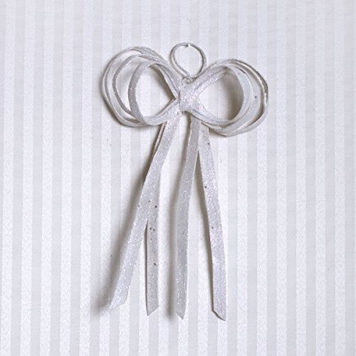 Giant Fabric Glitter Bow Color: White, Size: 12'' H x 8'' W