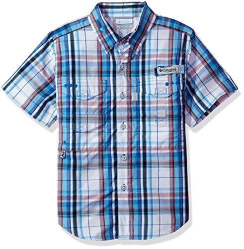 Columbia Youth Boys Super Bonehead Short Sleeve Shirt, Vivid Blue Plaid, X-Small