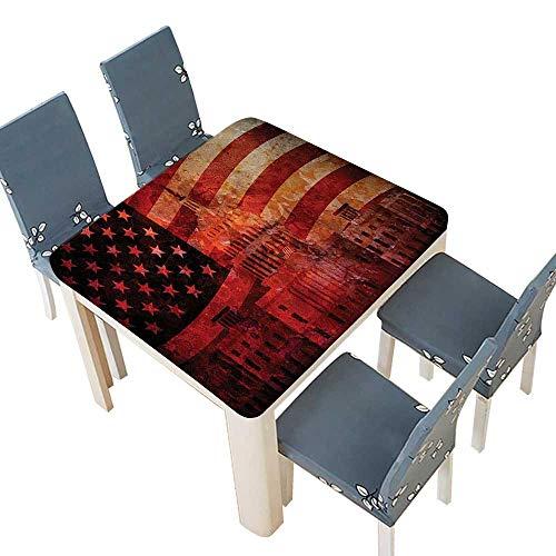 PINAFORE Natural Tablecloth Decor Washington Capital Monument White House Republican Congress Senate Print Multi Home Use, Machine Washable 41 x 41 INCH (Elastic Edge)
