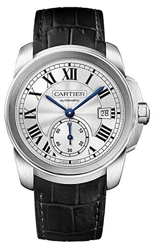 Cartier Calibre de Cartier Silver Dial Black Leather Mens Wa