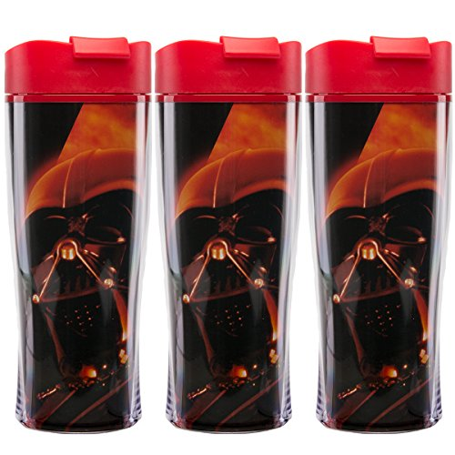 Travel Tumbler 15 Ounce - Zak (3 Pack) Darth Vader Star Wars Double Insulated 15oz Lidded Sipper Travel Tumbler