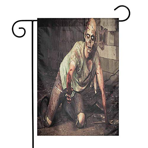 duommhome Zombie Garden Flag Halloween Scary Dead Man in The Old Building with Bloody Head Nightmare Theme Decorative Flags for Garden Yard Lawn W12 x L18 Grey Mint Peach -