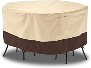 Arcedo Outdoor Furniture Covers, 72 Inch Waterproof Patio Covers for Outdoor Furniture, Heavy Duty Medium Round Patio Table Cover, All Weather Resistant Lawn Dining Table Covers, Beige & Brown