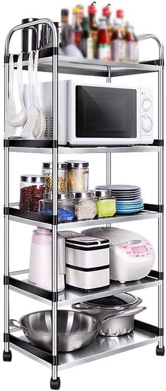 KTYXDE キッチン棚ステンレス鋼キッチンラック5層電子レンジ収納ラックフロアスタンド収納用金属フレーム キッチン用収納ラック (Size : 60x34x138cm)