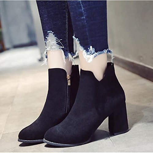 Brown Casual Toe Booties Black Bootie HSXZ Black ZHZNVX for Pointed Fall Flocking Boots Women's Ankle Heel Chunky Boots Shoes Winter wT7A1a7qx4