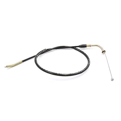 sourcing map para GS125 Moto Cable del Acelerador Recubierto de Goma Camisa Negra
