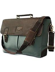 17.3 Men¡¯s Messenger Bag Vintage Canvas Leather Military Shoulder Laptop Bags By Vintage Couture
